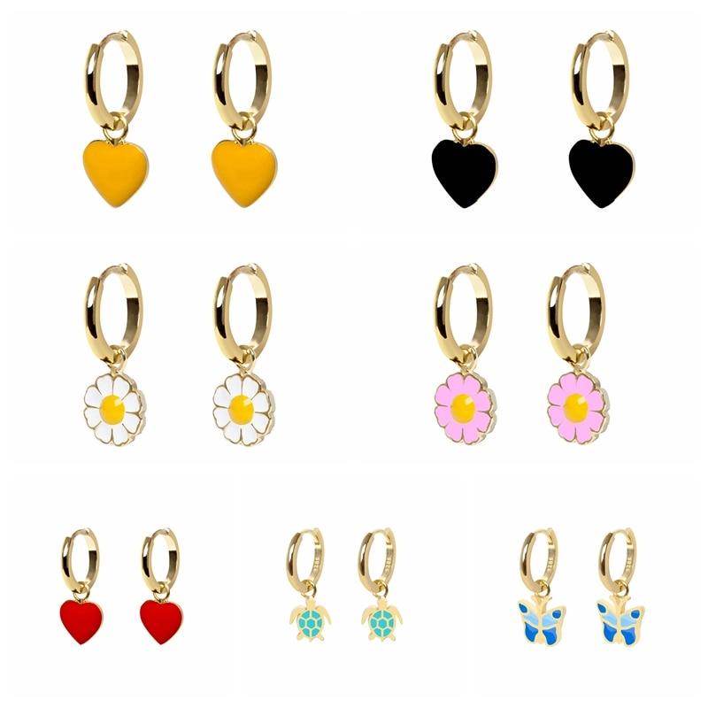 BOAKO Pendientes Plata 925 Sterling Silver Earrings for Women Earings Huggies Colorful Earring Love Heart Cute Jewelry