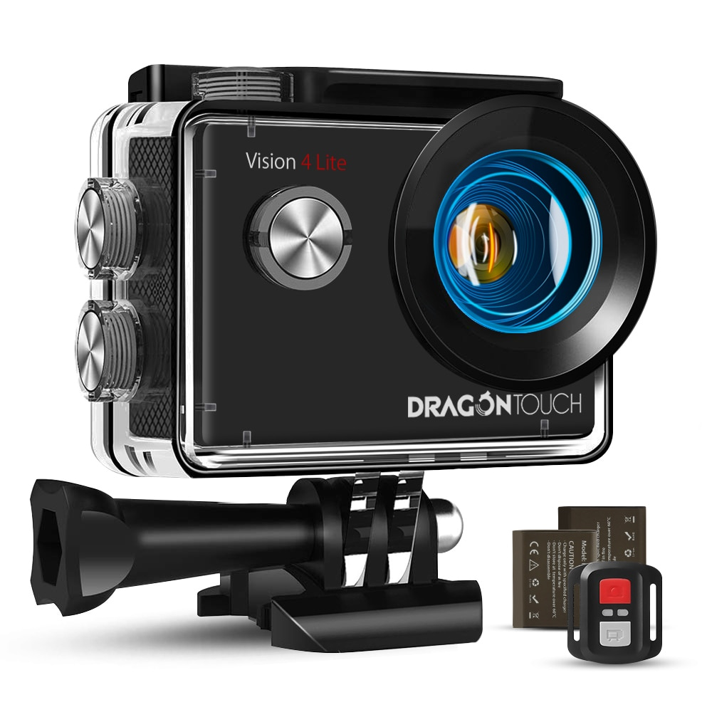 Review 4K Action Camera Vision 4 Lite 20MP EIS Anti-shake Underwater 100ft Waterproof Camera Wifi Sport Action Cam Support External Mic