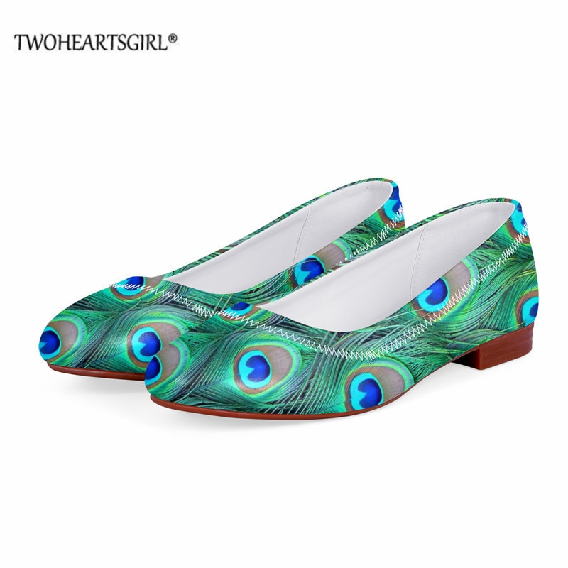 Twoheartsgirl Elegant Leather Loafers Slip-on Shoes Peacock Feather Fashion 3D Printed Flats for Wom