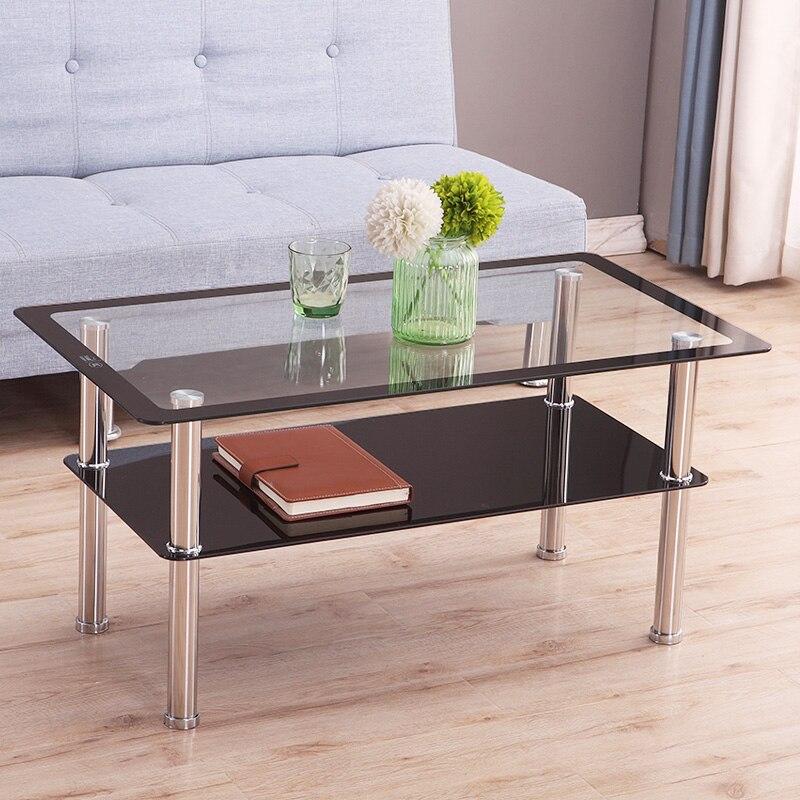 Mesa de centro Rectangular de cristal templado, mesa de té moderna y minimalista con ahorro de espacio para el apartamento, mesa de té creativa