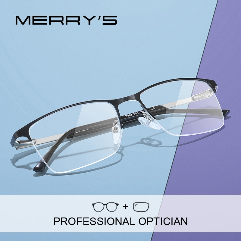 MERRYS DESIGN Men Prescription Half Frames Optical Glasses Square Myopia Prescription Eyeglasses Mal