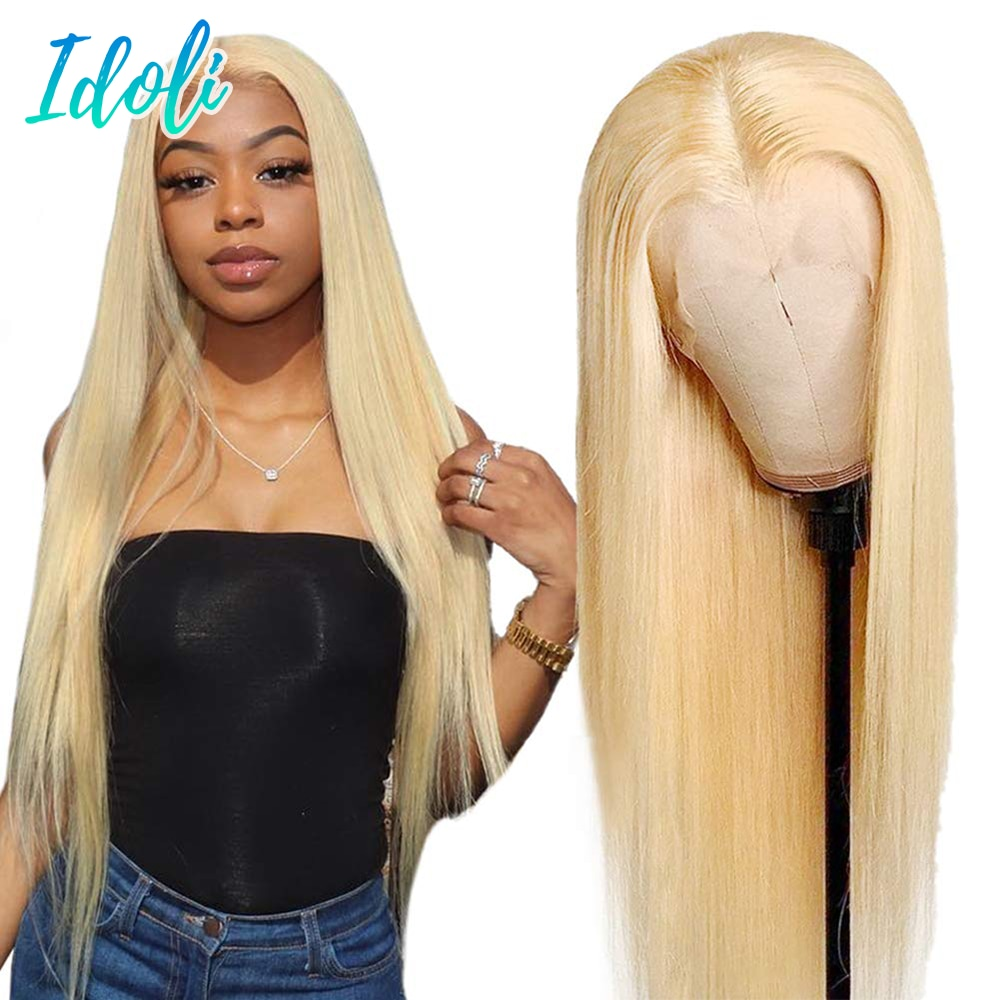 """613 Lace Frontal Wig 8""""-30"""" Straight Lace Front Wig 13x4 Transparent Blonde Lace Front Wig Human Hair Pre Plucked 28 30 Inch"""