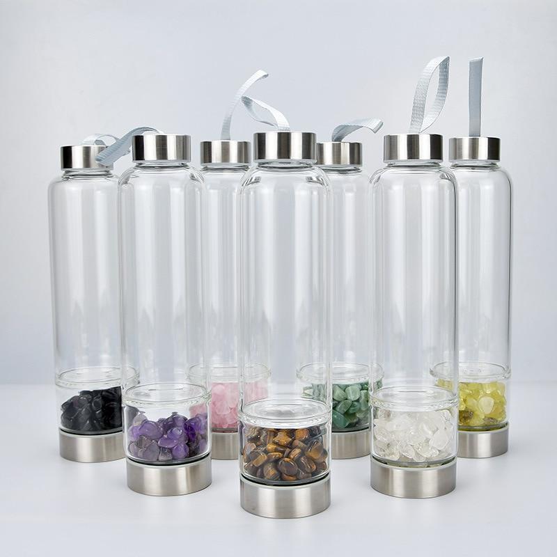 زجاج كريستال طبيعي زجاجة ماء كوارتز غير منتظم شفاء يمكن إعادة استخدامها في الطاقة غرست شرب زجاج كريستال زجاجة مياه للشرب