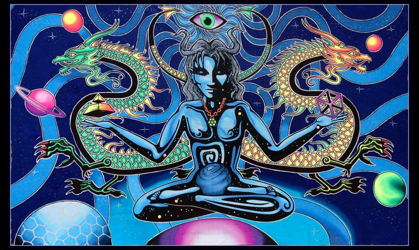 Tapiz psicodélico de la Tribe del espacio Cosmo UV colgante de pared activo