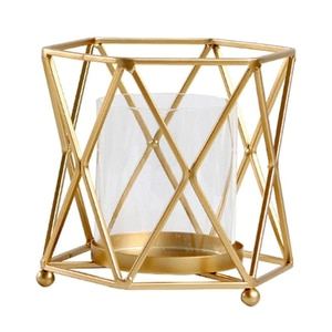 Candlestick, Geometric Iron Candle Holder with Windproof Glass Cup Desktop Ornament Decoration for Home Party Festival