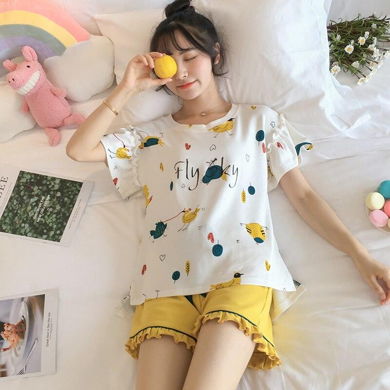 Женские-кружевные-пижамы-летние-тонкие-натуральный-хлопок-с-коротким-рукавом-милый-комплект-из-двух-предметов-костюм-размера-плюс-для-сту