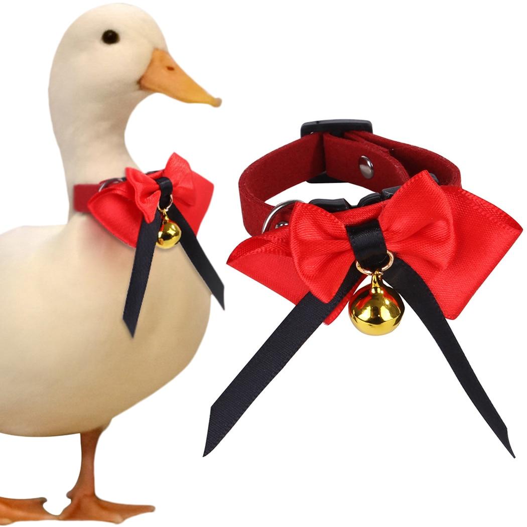 Collar para mascotas, pollo, pato, ganso, Collar para mascotas, decoración de campana ajustable decorativa, pajarita para mascota, para pollo, pato, ganso