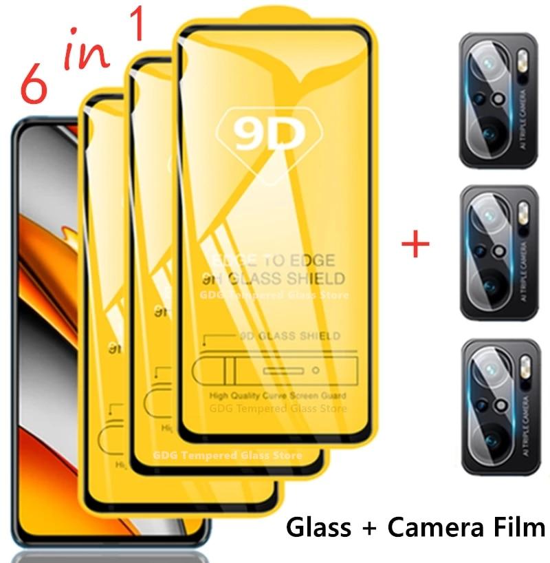 9D Protective Glass for Xiaomi Redmi Note 10 8 9 Pro Note10 9s 10s 5G Screen Protectors for Poco X3 Pro NFC F3 M3 GT Camera Film