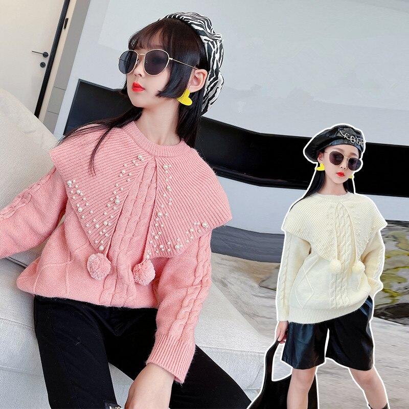فتاة اللؤلؤ سترة الخريف 2021 ملابس الأطفال الوردي طوق كبير الاطفال سترة محبوك الدافئة المدرسة المراهقين البلوز الفتيات وتتسابق