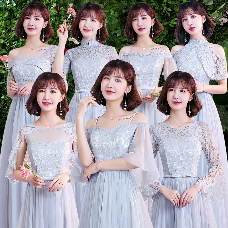 Серое детское элегантное платье подружки невесты Гость свадебное Vestido Largo Sirena