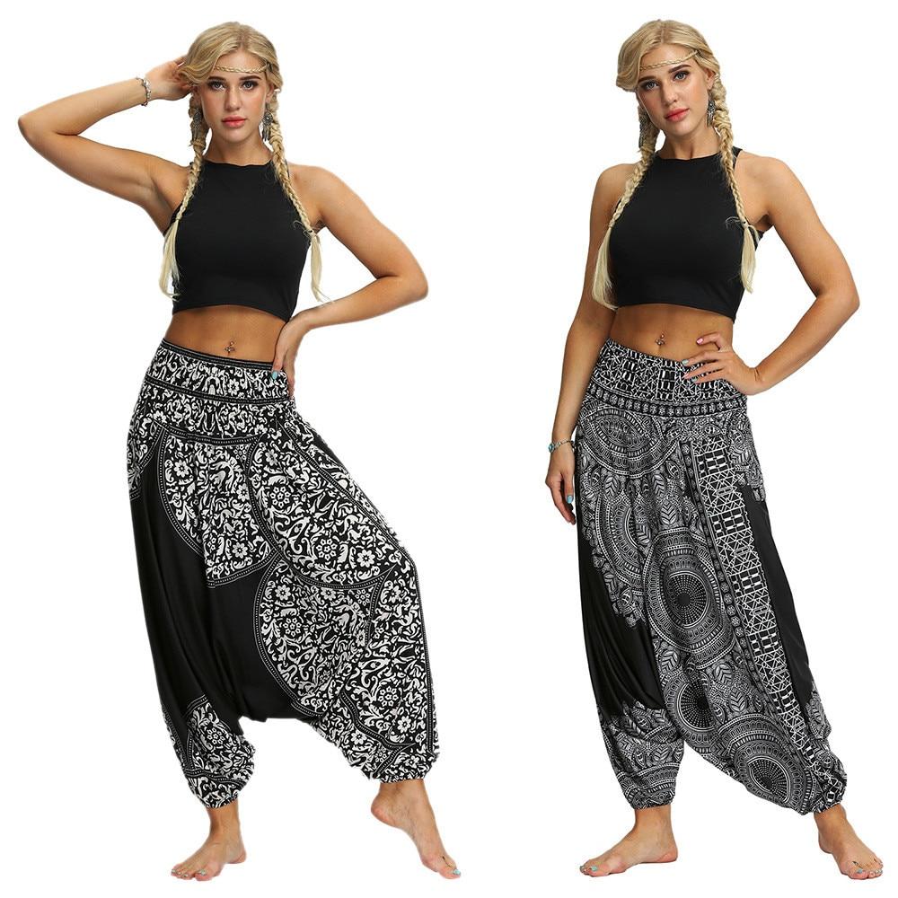 Harem calças femininas senhoras casuais verão solto calças femininas baggy boho aladdin imprimir moda casual macacão calças #25