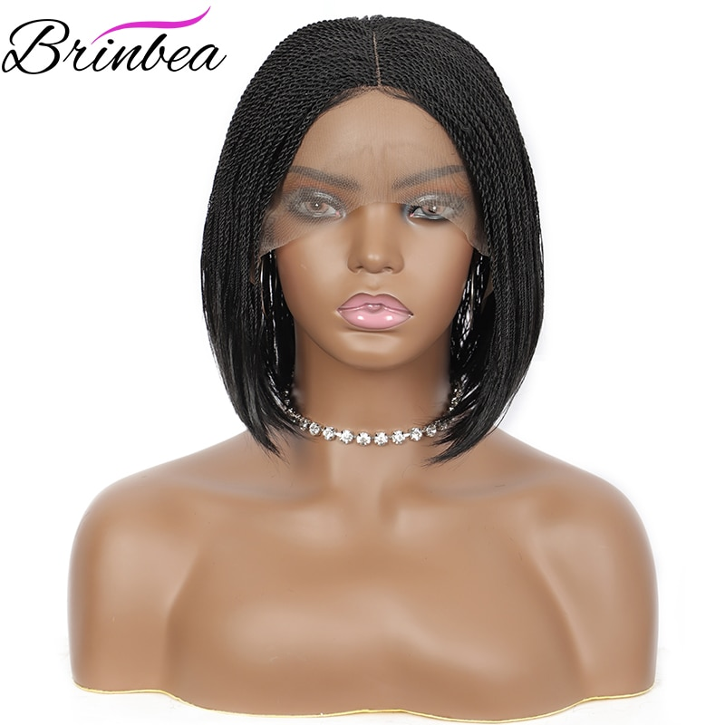Brinbea 12 Inches Synthetic Hair Wigs for Women with Baby Hair Middle Parting Heat Resistant Lace Wigs Short Premium Braid Wig