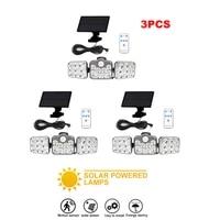 3pcs 138 led remote seperable bright solar light outdoor 3 head motion sensor 270%c2%b0 wide angle illumination lamp waterproof 5m ca