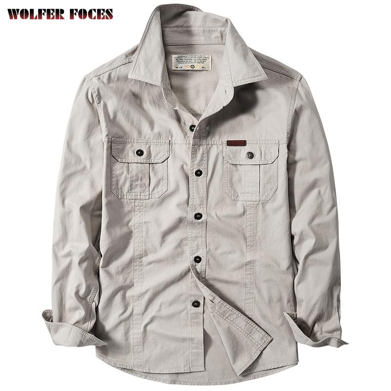 Куртка мужская джинсовая с длинным рукавом, свободная рубашка из денима для инструментов, Модная специальная рабочая одежда, оригинал, весн...