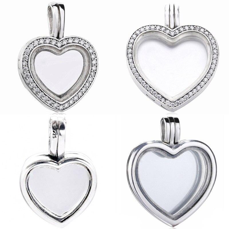 Collar de medallones con corazón flotante medio brillante y grande compatible con pulseras Pandora, joyería DIY 925, abalorio de plata esterlina