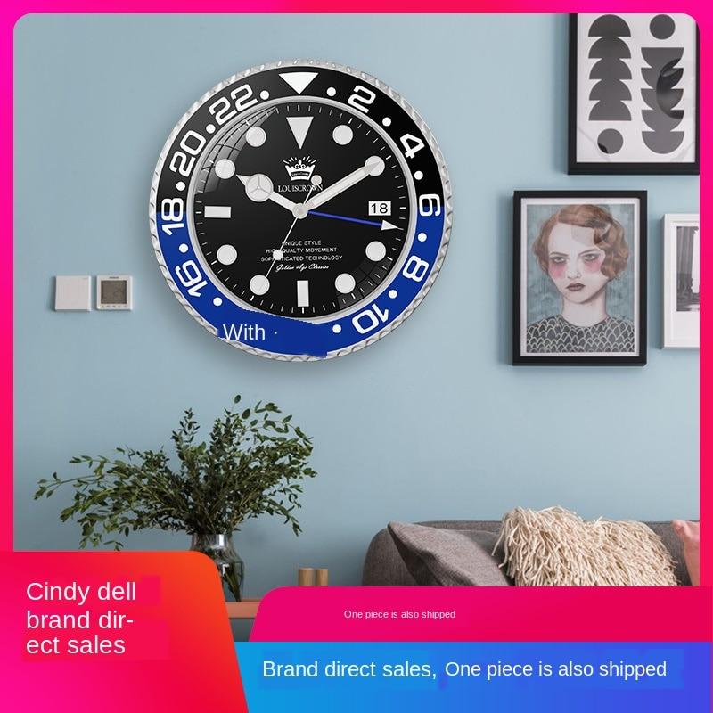 2019 personas que viven en el dormitorio de adorno, sala de estar, estudio luminoso reloj calendario silencioso creativo Reloj de pared de cuarzo verde