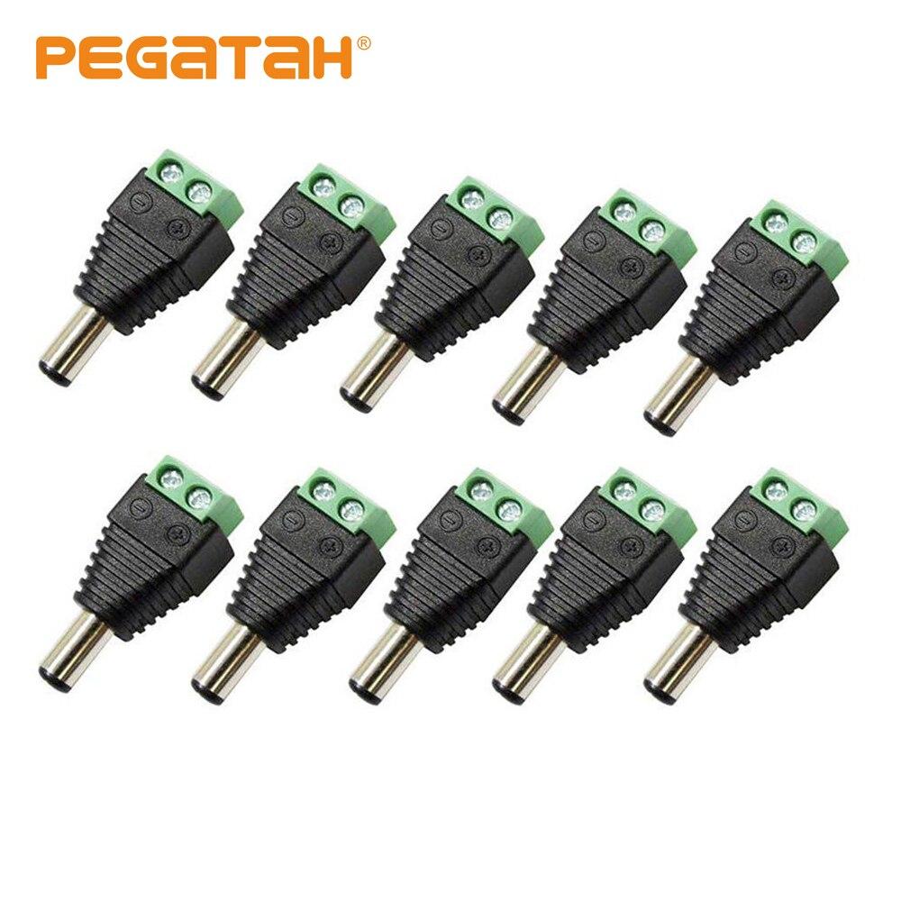10 Uds hembra de alimentación DC, Jack y con cabezal para tornillos en conector de cable para la cámara de cctv