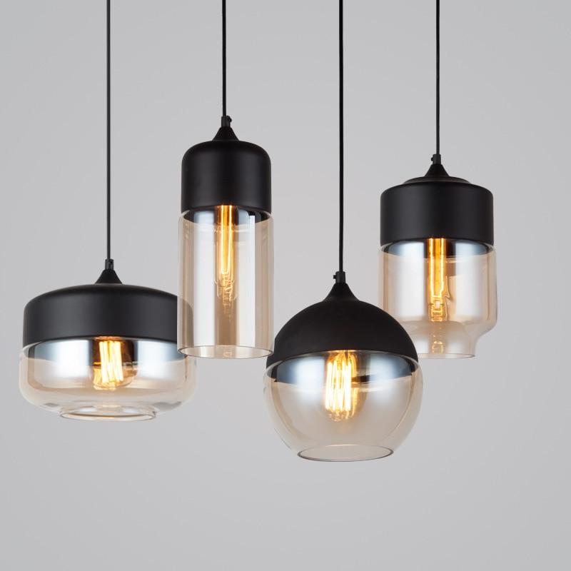 مصباح معلق LED زجاجي صناعي من المعدن الأسود ، علوي ، شريط ، طاولة ، غرفة طعام ، شخصية ، إبداعية