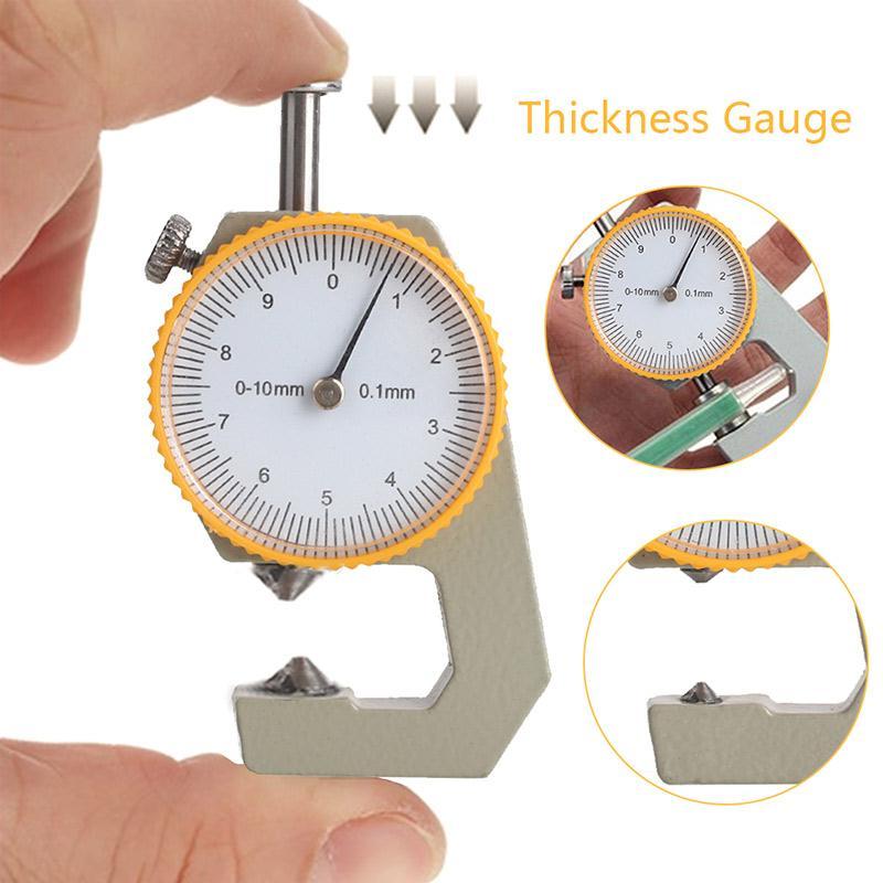 Тестер толщины металла серебристый желтый инструмент для анализа кожи микрометр прочный измеритель толщины подарок