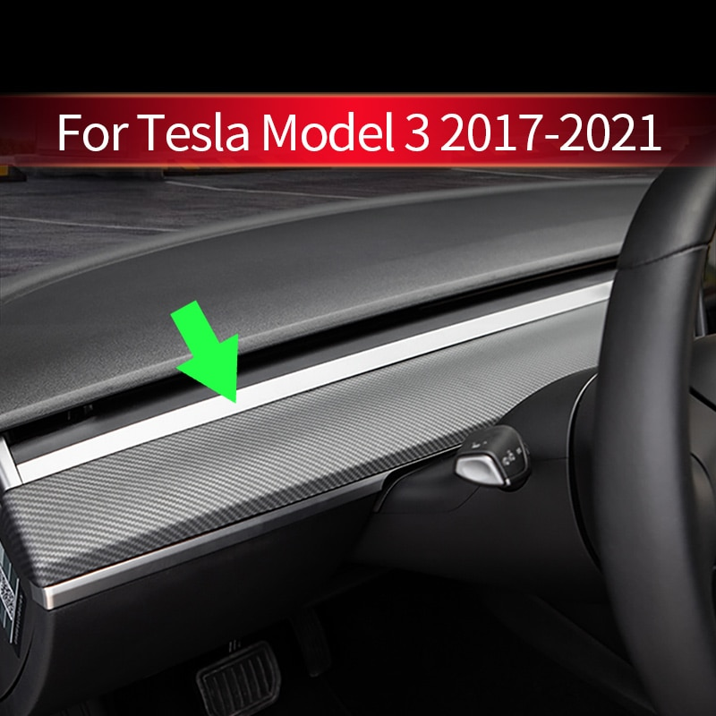 2021 Car Center Console Dashboard Trim Cover For Tesla Model 3 Y ABS Faux Fur Car Interior Strip Sticker Accessories 2017 - 2021 enlarge