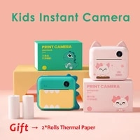 kids instant printing camera 1080p hd 12mp cartoon cute photo video digital camera with print paper for girl boy toys gift