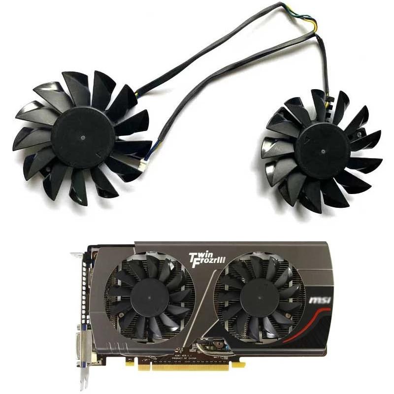 Вентилятор для видеокарты MSI N66, 2 шт., 75 мм, 4 контакта, размер 52x52x52 мм, PLD08010S12HH N660Ti