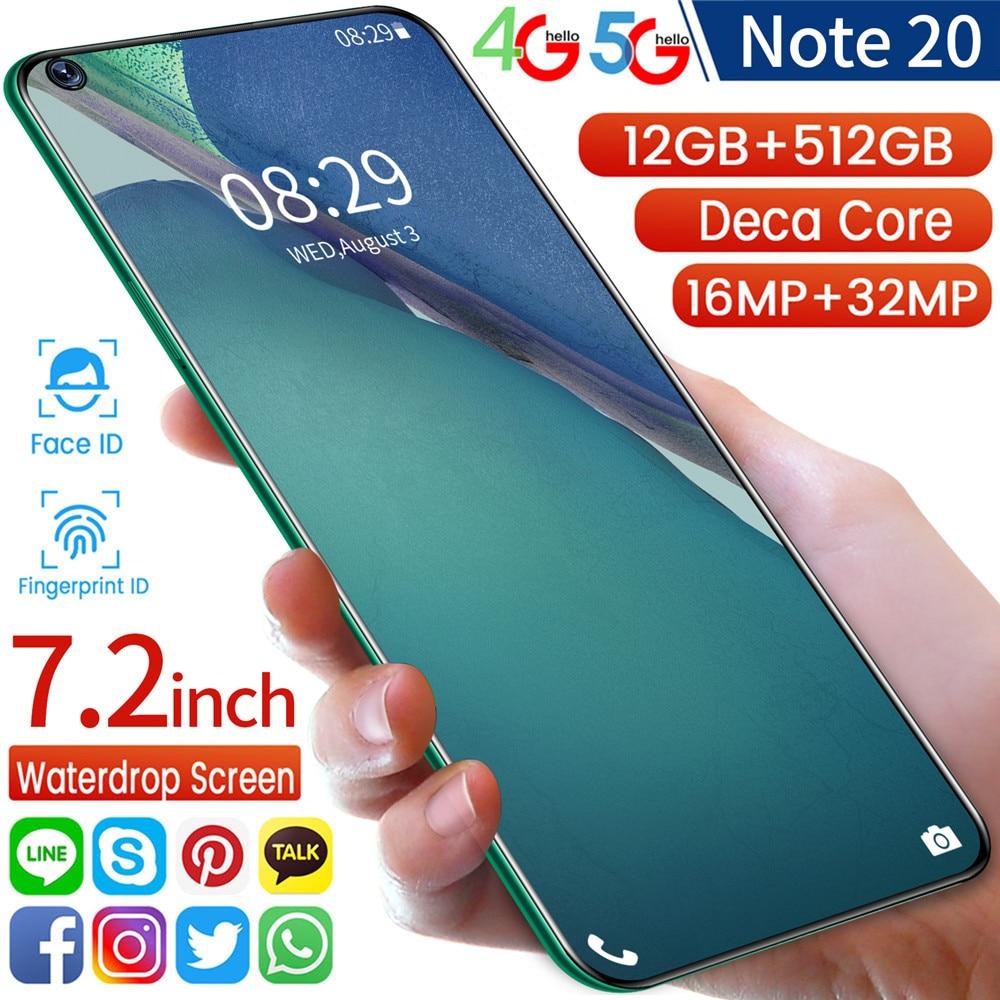 Global Versie Smartphones Note 20 7.2 Inch Full-Screen 8G 256G Deca Core Vingerafdruk Ontsluit Dual Sim kaart 4G 5G Mobiele Telefoons