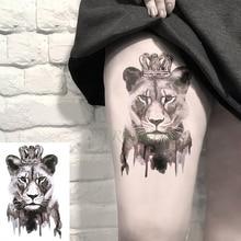 Wasserdicht Temporäre Tätowierung Aufkleber Lion Königin Crown Tier Tatto Flash Tatoo Gefälschte Tattoos Hand Bein Arm für Kinder Männer Frauen