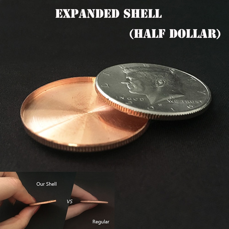 1pc Expanded Shell (head, Half Dollar) Magic Tricks Coin Appear/Vanish Magia Magician Accessory Close Up Illusions Props Gimmick недорого