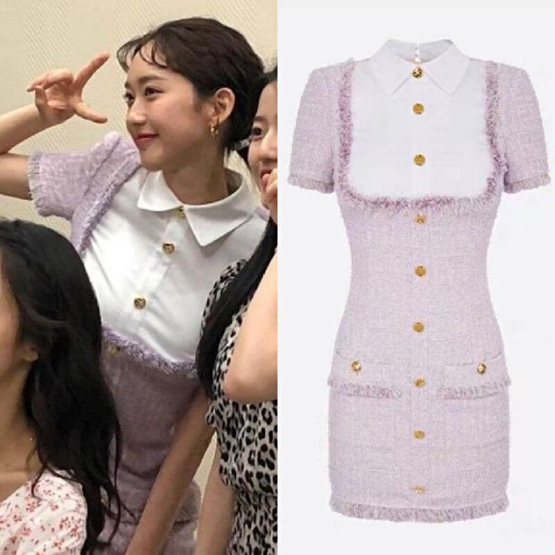 2021 летнее элегантное обтягивающее платье корейского драматического мультфильма пентхаус 3 в стиле пэчворк, для девочек пальто с воротником...