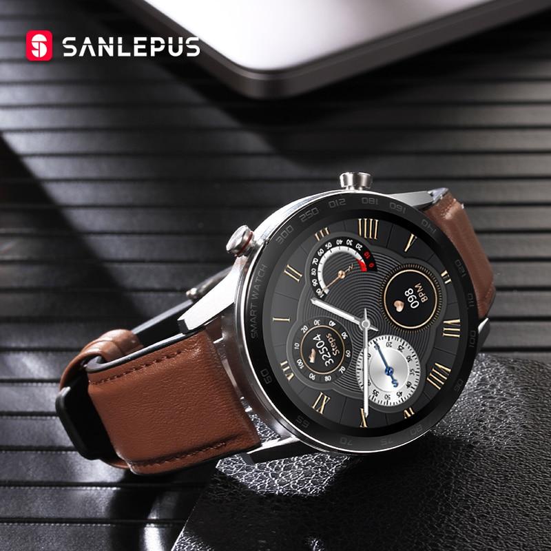 ساعة يد ذكية ماركة SANLEPUS ECG موديل 2021 ساعة يد ذكية رياضية للرجال مزودة بسوار للياقة البدنية ساعات يد لهواتف أبل أندرويد وشاومي