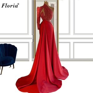 Muslim Red One Shoulder Evening Dresses Long Mermaid Arabic Prom Dresses For Women Party Night Pageant Gowns Photography Vestido