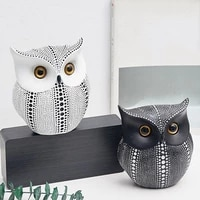 owls craft nordic style minimalist white black owls figurines resin miniatures home decoration living room ornaments crafts