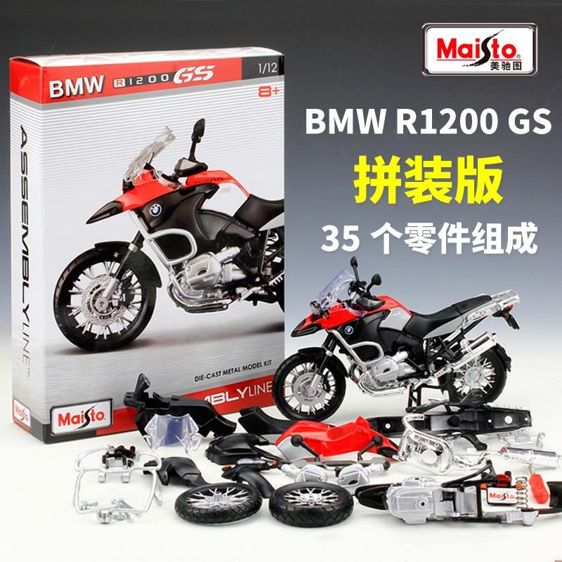 Сборный автомобильный конструктор Maisto 1:12 BMW R1200GS, комбинированная модель мотоцикла из сплава, литая модель мотоцикла