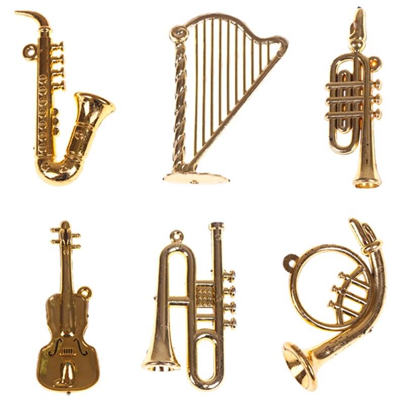 Mini instrumento Musical de plástico, decoraciones de Navidad para colgar en el...