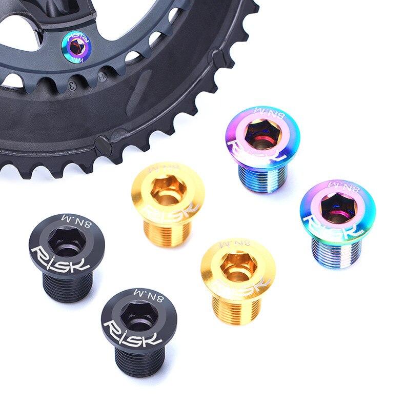 Riesgo de bicicleta de carretera platos y bielas pernos de titanio M8 de bicicleta de titanio plato pernos para SHIMANO 105/ULTEGRA piezas de bicicleta