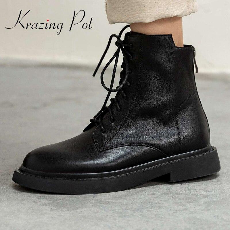 Krasing pot-حذاء بوت كلاسيكي من الجلد الطبيعي مع مقدمة مستديرة ، كعب متوسط على الإنترنت ، عصري ، برباط ، L27