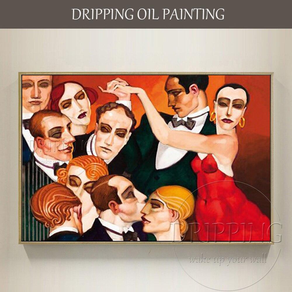 Pintados à Mão Pintura a Óleo sobre Tela Pintura a Óleo Artista Impressionista Brasil Retrato Não-olhos Dança Festa