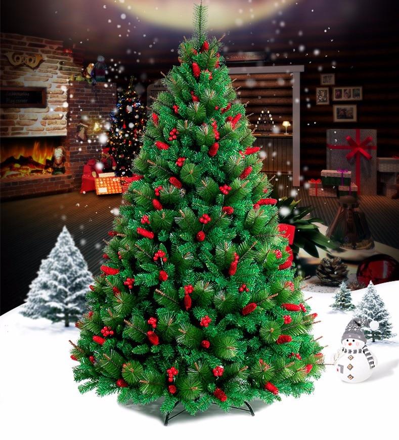 1.5 متر/1.8 متر/2.1 متر/الصنوبر الإبر التشفير الأحمر شجرة عيد الميلاد الأسرة فندق مراكز التسوق عيد الميلاد لوازم الديكور