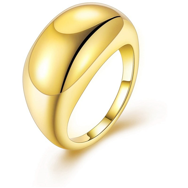 New gold-plated male and female couples wedding rings, large glossy thick dome ring geometric fashion simple and versatile
