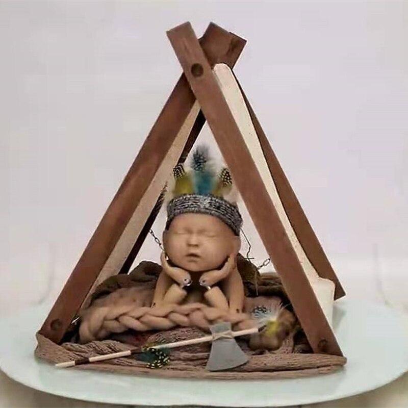 Baby Newborn Photography Props Retro Wooden Tent Baby Accessories Boy Studio Fotografia Accessory Furniture Bebes Accesorios