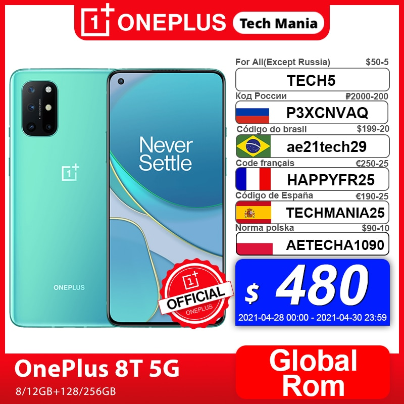 AliExpress - Global Rom OnePlus 8T 8 T OnePlus Official Store 8GB 128GB Snapdragon 865 5G Smartphone 120Hz AMOLED Fluid Screen 48MP Quad 65W