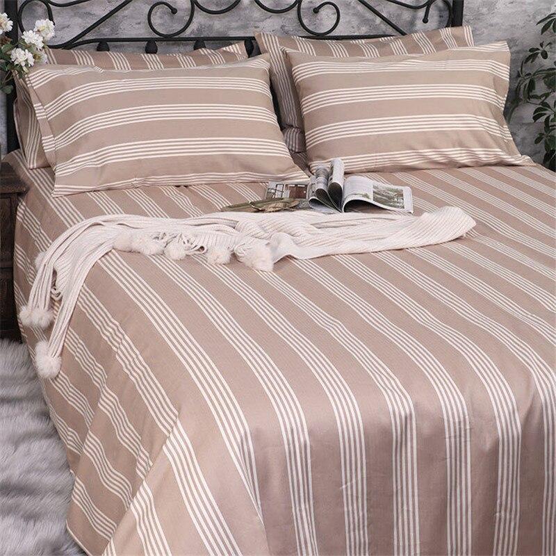 ملاءات السرير القطن سميكة مخطط واقي المرتبة ملاءات السرير ديكور فندق المنسوجات المنزلية الفراش غطاء ورقة مسطحة غطاء السرير