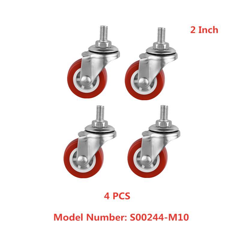4 Pcs/Lot 2 Inch m10 Thread Pvc Caster Diameter 5cm Furniture Universal Wheel Screw Rod Mute Wear-resistant