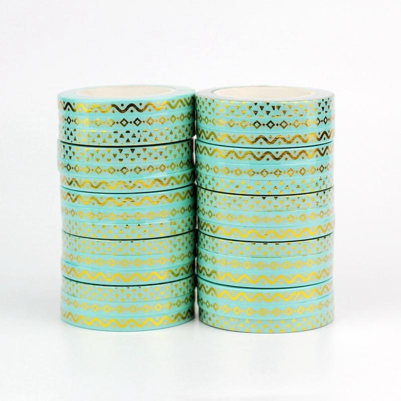 Decor Cute 5mm Slim Gold Mint Foil Washi Tapes Set DIY Scrapbooking Planner Adhesive Masking Tapes Kawaii Stationery Wholesale