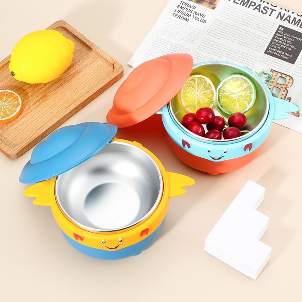 Детская миска с двойными ручками, посуда для инъекций воды, блюдо из нержавеющей стали для кормления, миска для пищевых добавок для младенце...