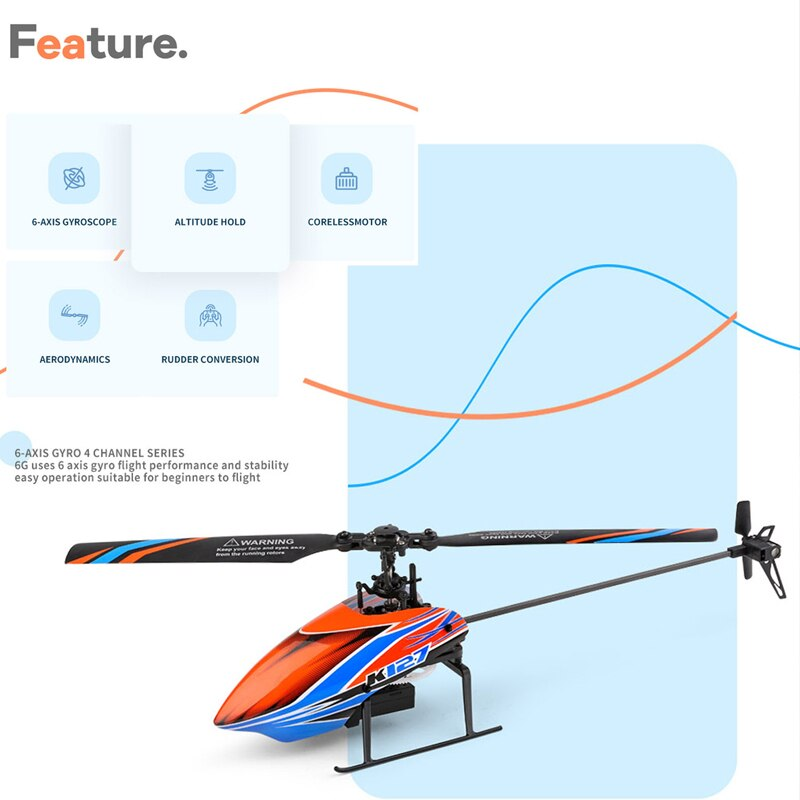 WLtoys XKS K127 4CH RC Helicopter 6-axis Gyro Single Blade RC Aircraft Remote Control Helicopter RC Plane RTF for Beginners enlarge