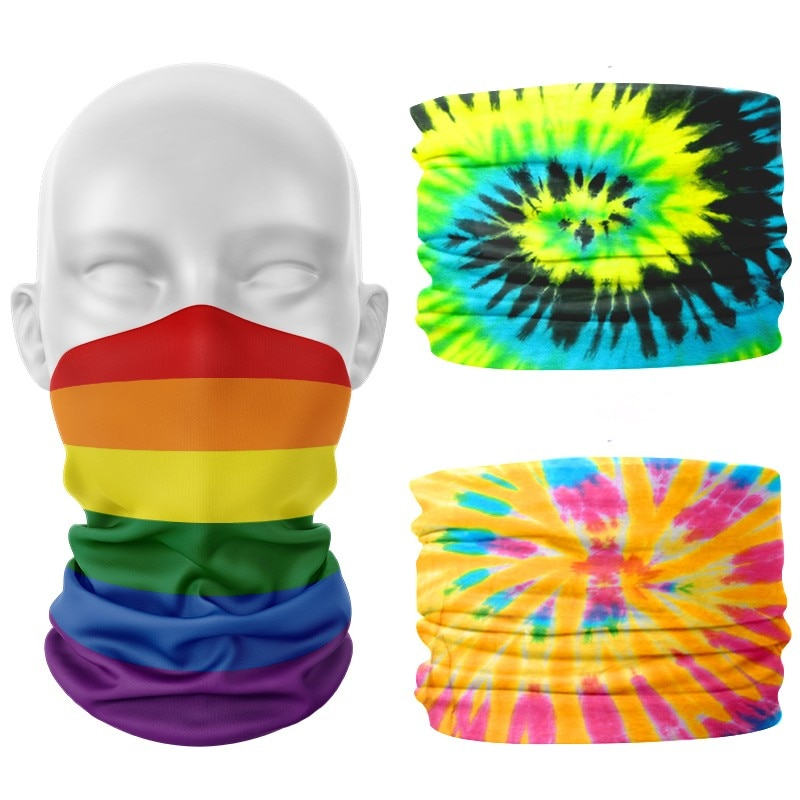 Rainbow Print Sports Scarf Unisex Colorful LGBT Outdoor Climbing Fishing Windproof Face Bandana Multifunctional Seamless Scarves