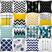 Наволочка с геометрическим рисунком 45x45 наволочка из полиэстера, Декоративные диванные подушки, Наволочки, домашний декор, черные, желтые, с...