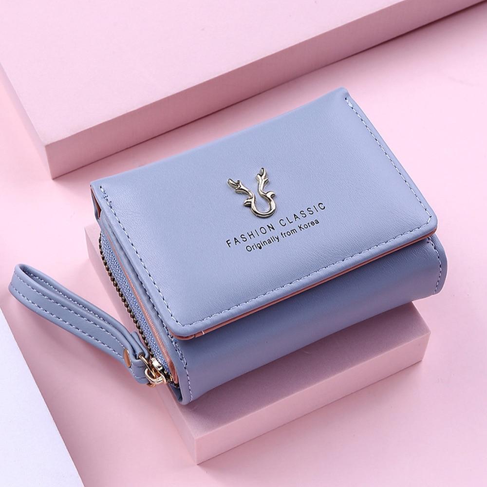 Women's PU Wallet Short Women Coin Purse Wallets For Female Card Bag Holder Small Female Hasp Mini C